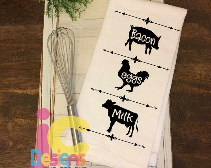 Bacon Eggs Milk svg, Cow SVG, Pig SVG, Chicken SVG, farm svg, farmhouse svg sign design Country farm signs Svg Eps Dxf Png cricut silhouette