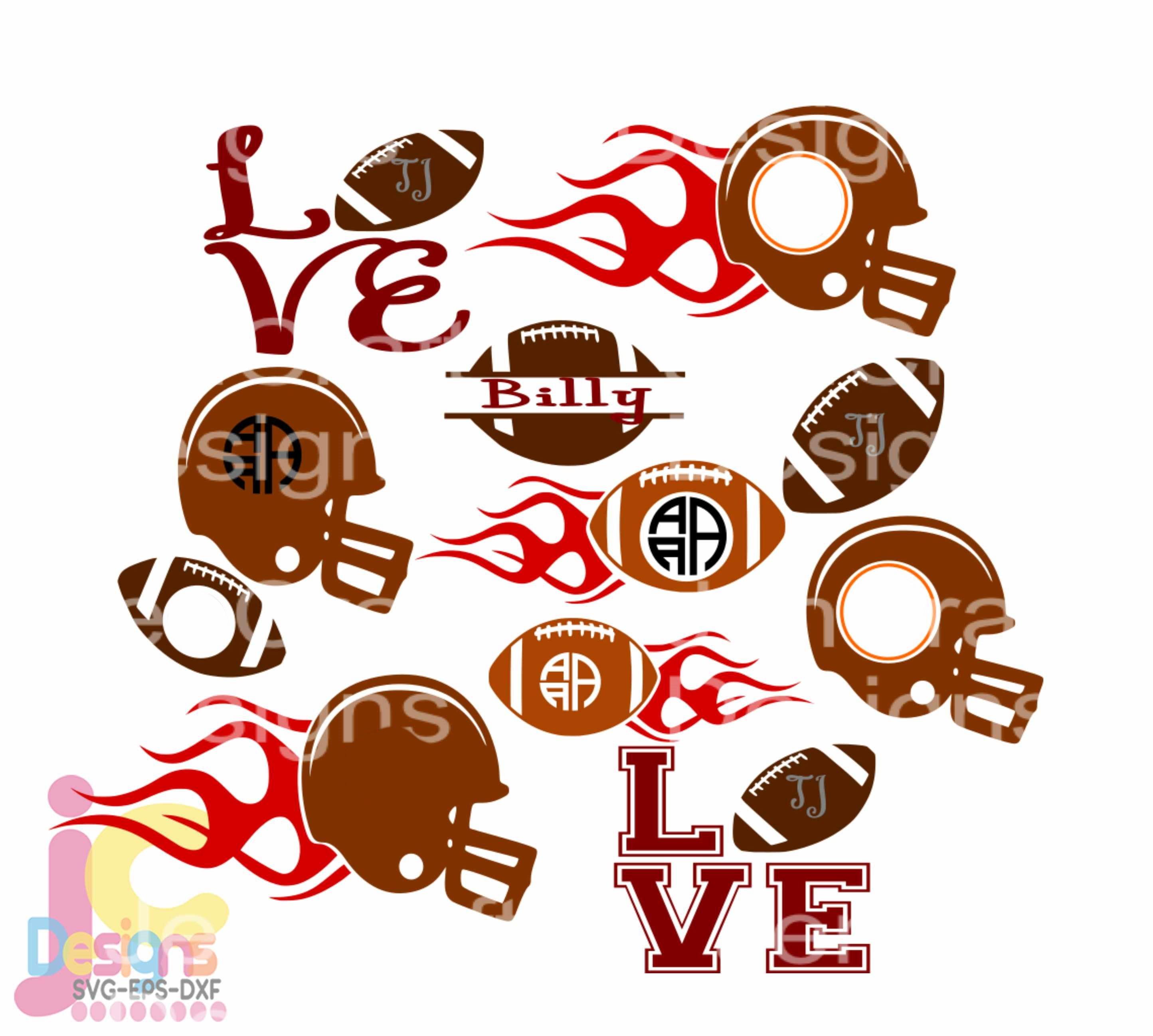 Football Svg Football Mom Monogram Frames Love Helmet Svg Dxf Jpg Png Vector Cut File Svg Cut File Silhouette Cricut Digital Design