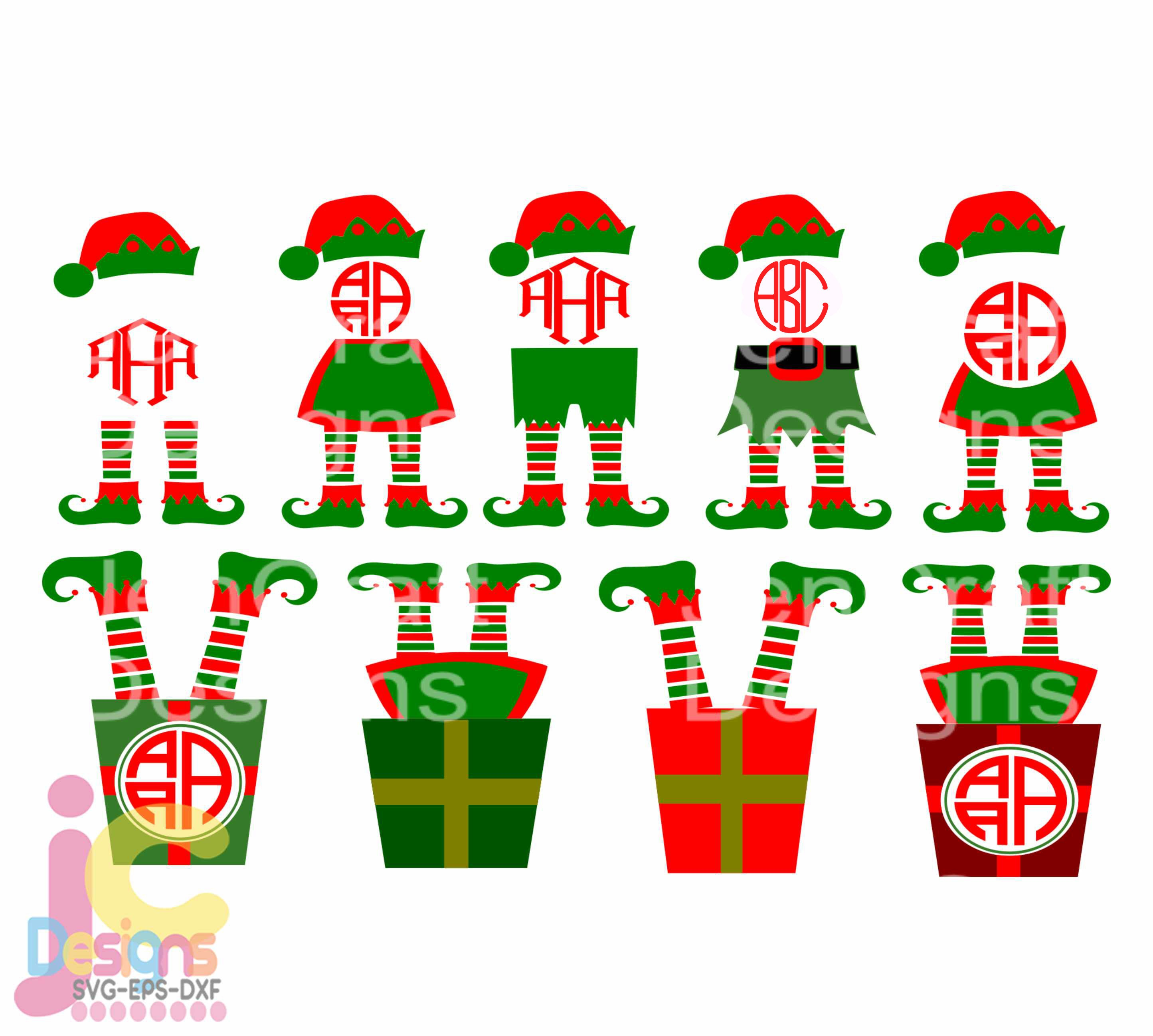 Christmas Svg Elf Legs Svg Monogram Frame Design Digital Clipart Cut File Png Svg Eps Dxf Instant Download Silhouette Cameo Cricut