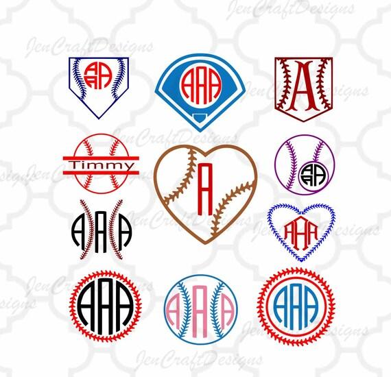 Baseball svg Softball Monogram Frames SVGDxfEpsPng | Etsy