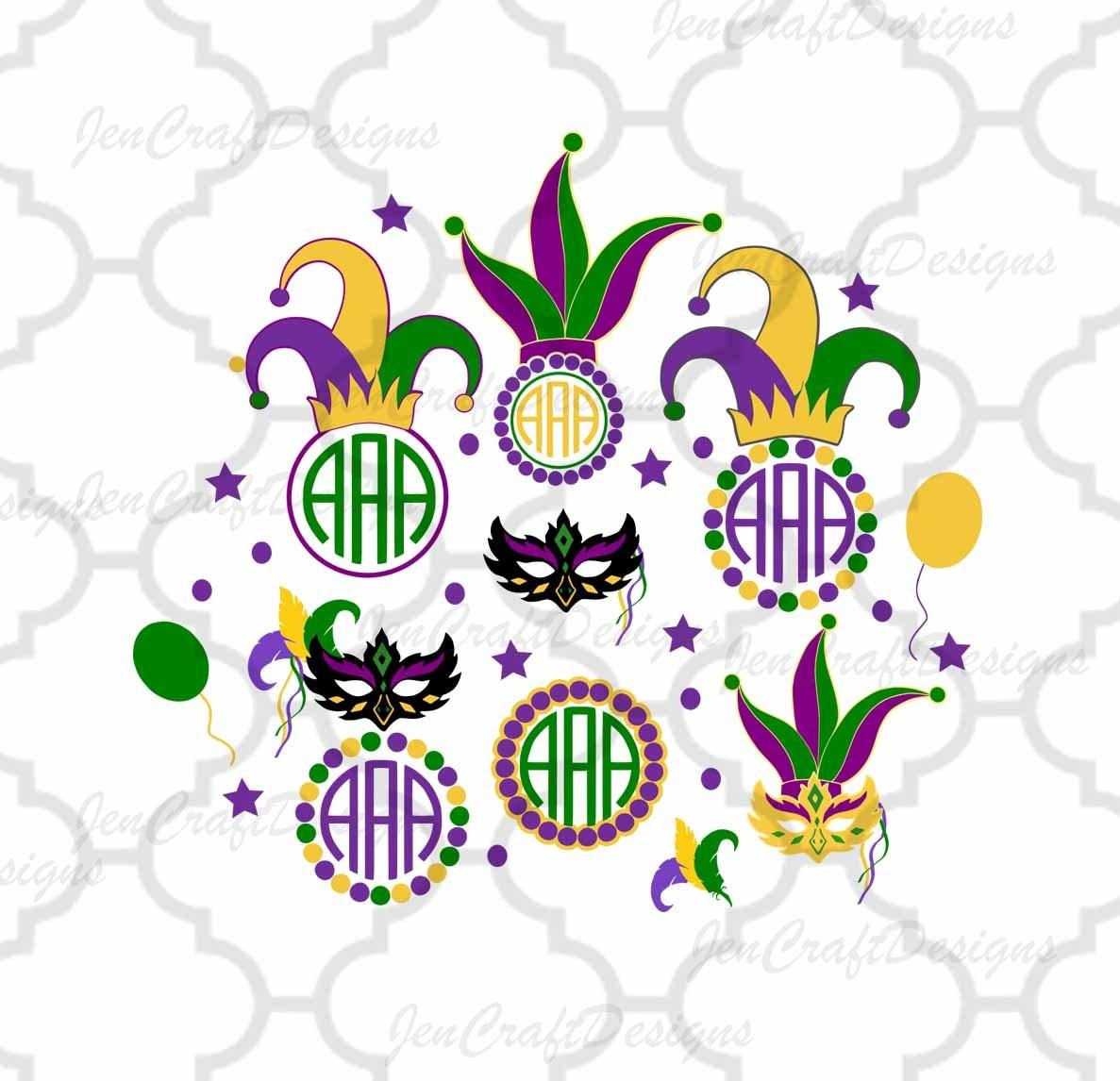 Mardi Gras Masquerade Mask Monogram Frame Set Jester Crown New ...