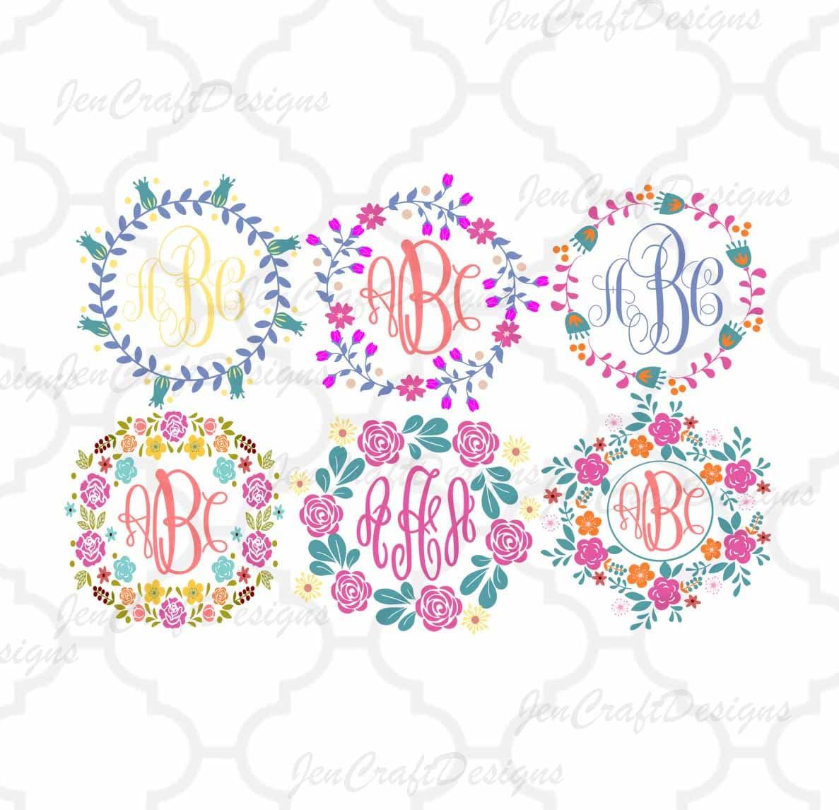 Shop Floral Monograms At Littlebrownnest Etsy Com: Floral Flower Wreaths Monogram Frames Cuttable SVG DXF EPS