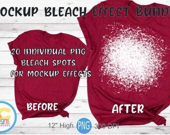 "Bleach Effect Png Bundle. Bleachd spot mockup look for digital designs. Splatter overlay png 300 dpi 12"" high"