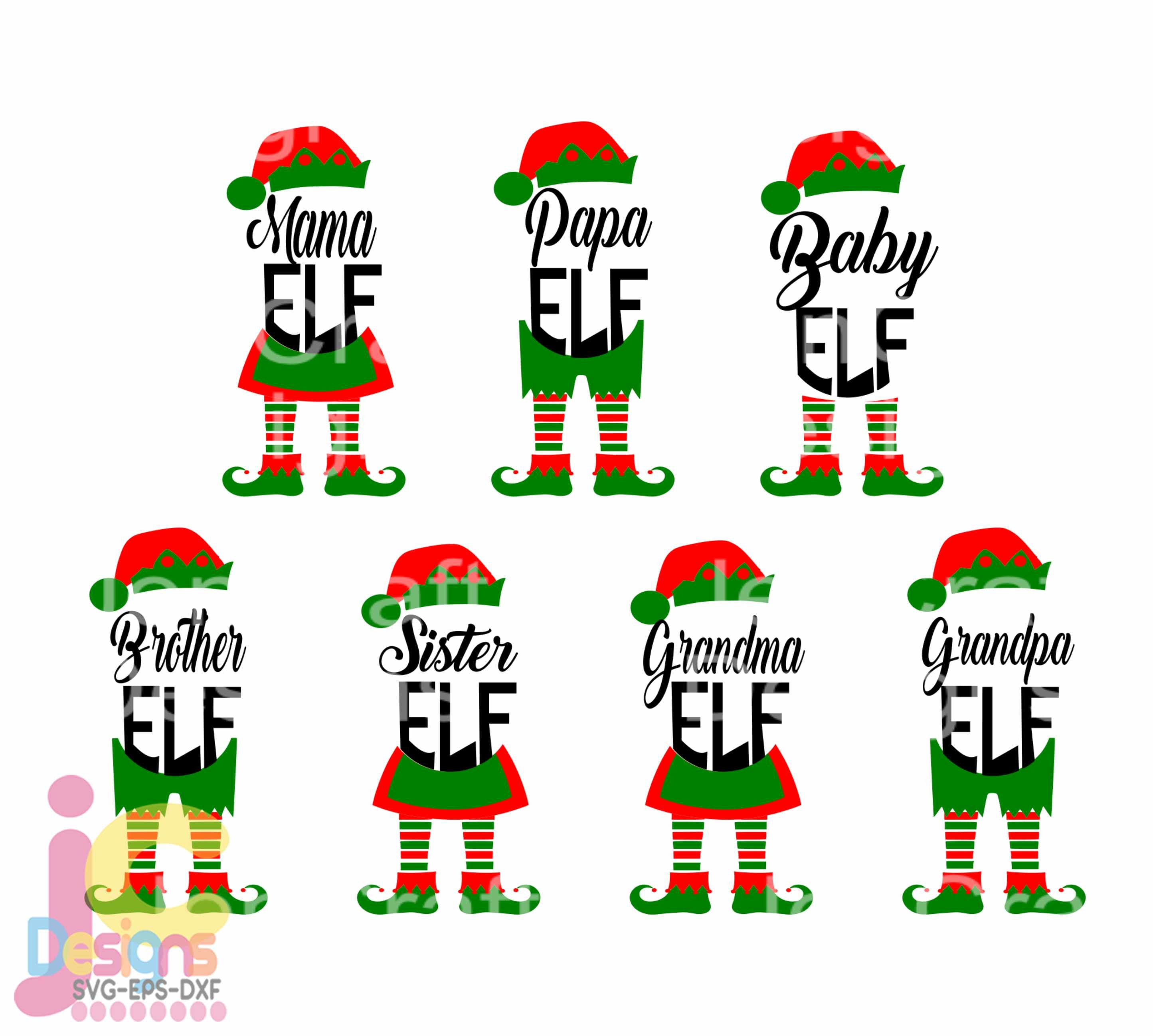 Christmas Svg Elf Family Svg Papa Mama Baby Grandma Grandpa Sister Brother Elf Legs Svg Eps Dxf Printable Clipart Silhouette Cricut