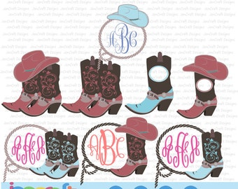 Cowgirl Boots Svg, Western Monogram SVG, Cowgirl Hat Monogram, Country SVG, Country Frame Cowboy SVG,dxf png, Cricut, Silhouette