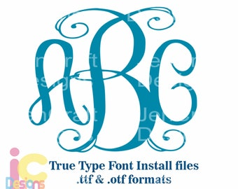 Classy Interlocking Monogram Font in True Type format .TTF & .OTF Installable Font for Cricut, Design Space, Microsoft Word and more