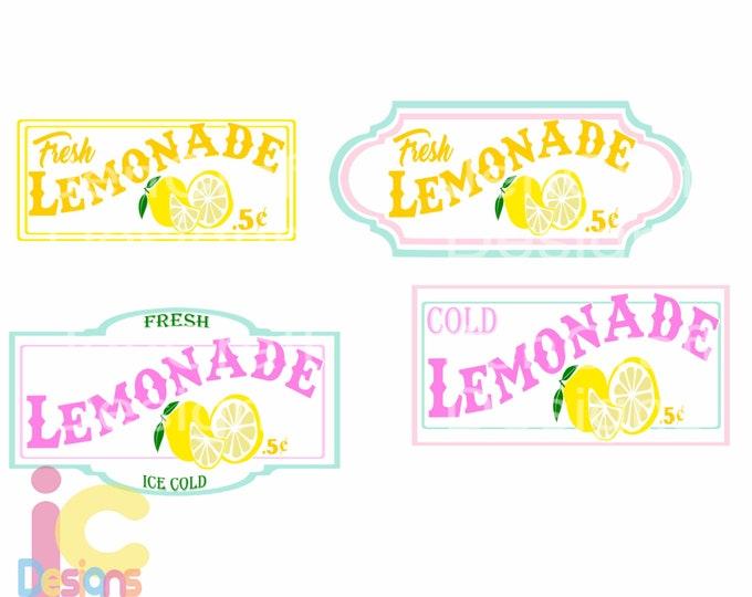 Lemon Svg, Lemonade SVG,  Fresh lemonade stand printable sign art bundle Cut file Sublimation Summer svg Cricut Silhouette SVG Eps Dxf Png