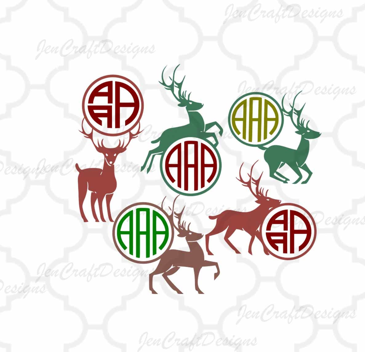Deer Monogram Frames SVG Cutting Files, SVG EPS Png Dxf, Cricut ...