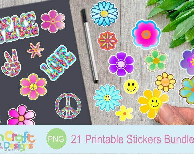 Printable Hippie Groovy Stickers Flowers png 60s 70s Retro Peace Love Flower child digital design Cricut Silhouette Sublimaion clipart