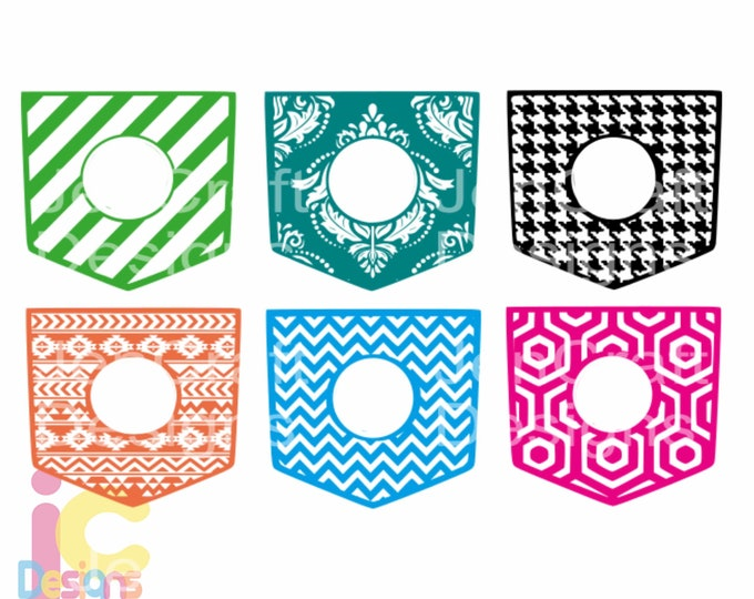Shirt Pocket svg Monogram Frames SVG, Patterned monogram cutting file, SVG Eps Png Dxf, Cricut, Silhouette, Digital Cut Files