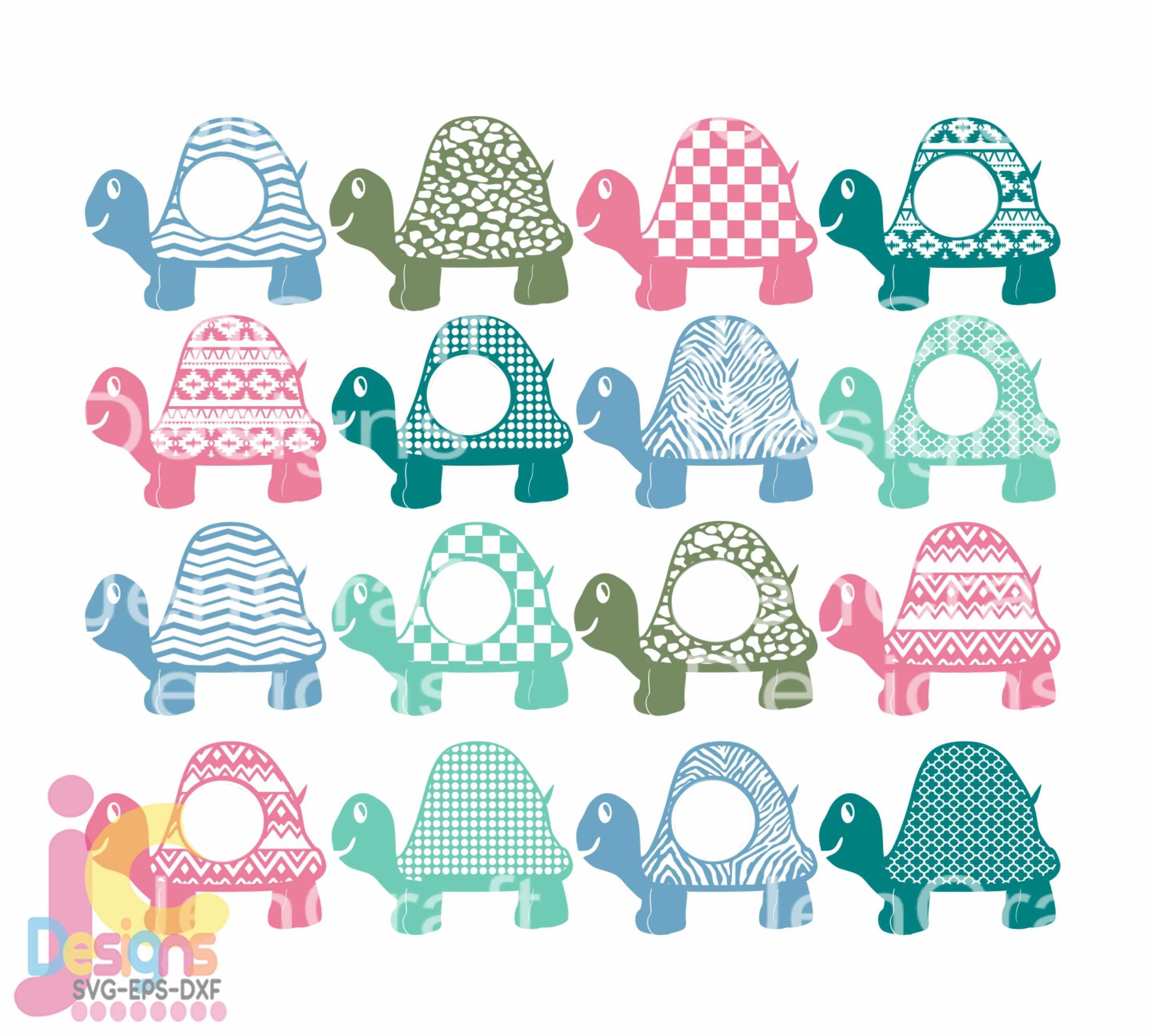 Turtle Svg Monogram Frame Cute Kids Summer Beach Svg Cut Files Svg Dxf Ai Eps Png Monogram Svg Cricut Silhouette Digital Cut Files