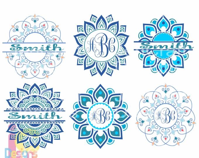 Ethnic Mandala SVG Pattern Round Monogram Frame, Indian Boho svg Zentangle svg dxf eps svg png Cricut, Silhouette designs for cricut