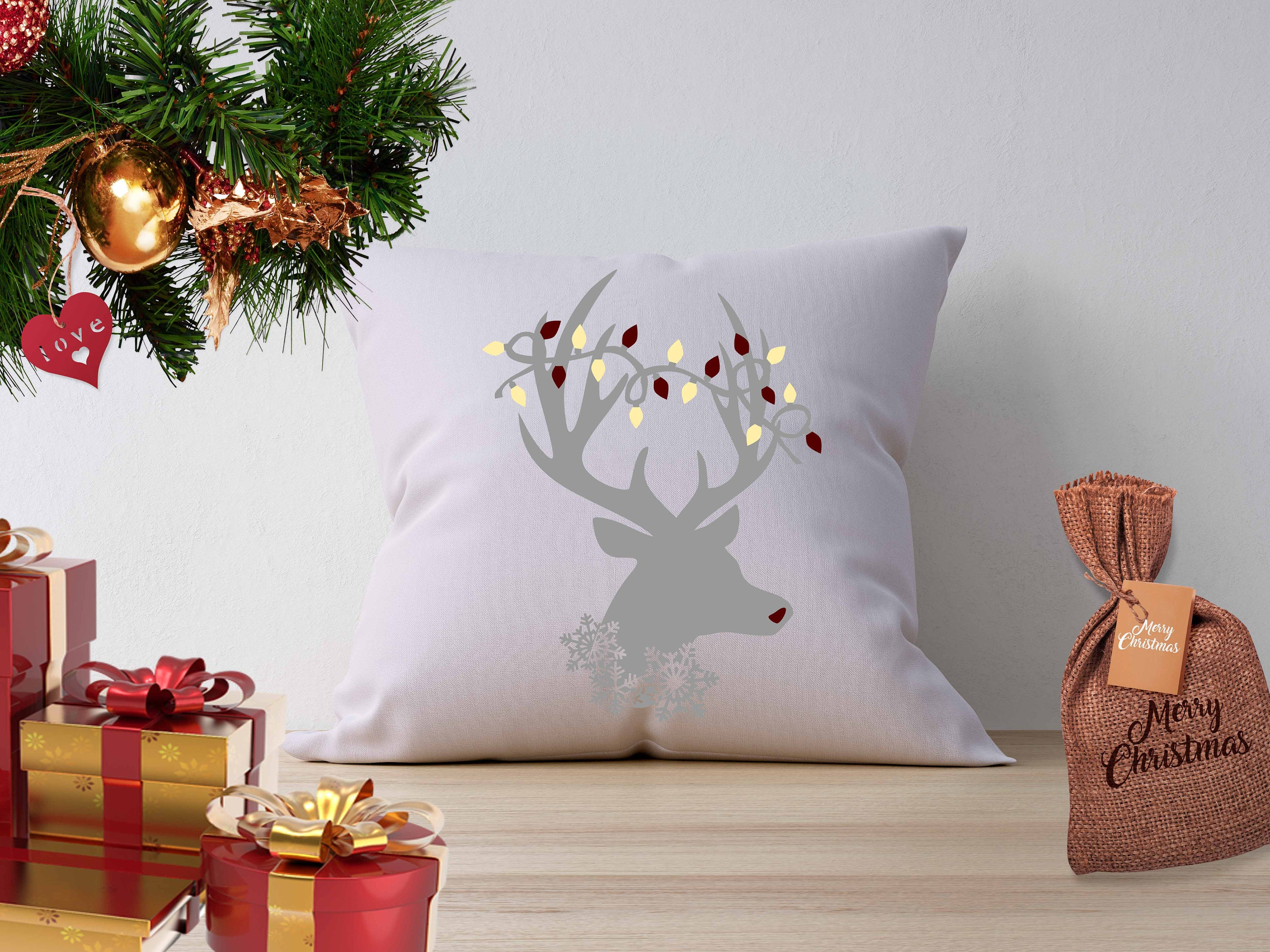 Christmas Svg Reindeer Svg Antlers Lights Snowflake Holidays Merry Svg Eps Dxf Png Silhouette Cricut Clip Art Graphics Vinyl