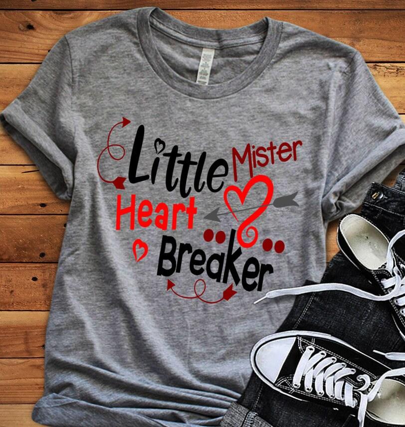 Little Mister Heart Breaker Svg Valentine Svg Toddler Valentine Svg Heart Baby Boy Love Svg Dxf Eps Png Cricut Silhouette
