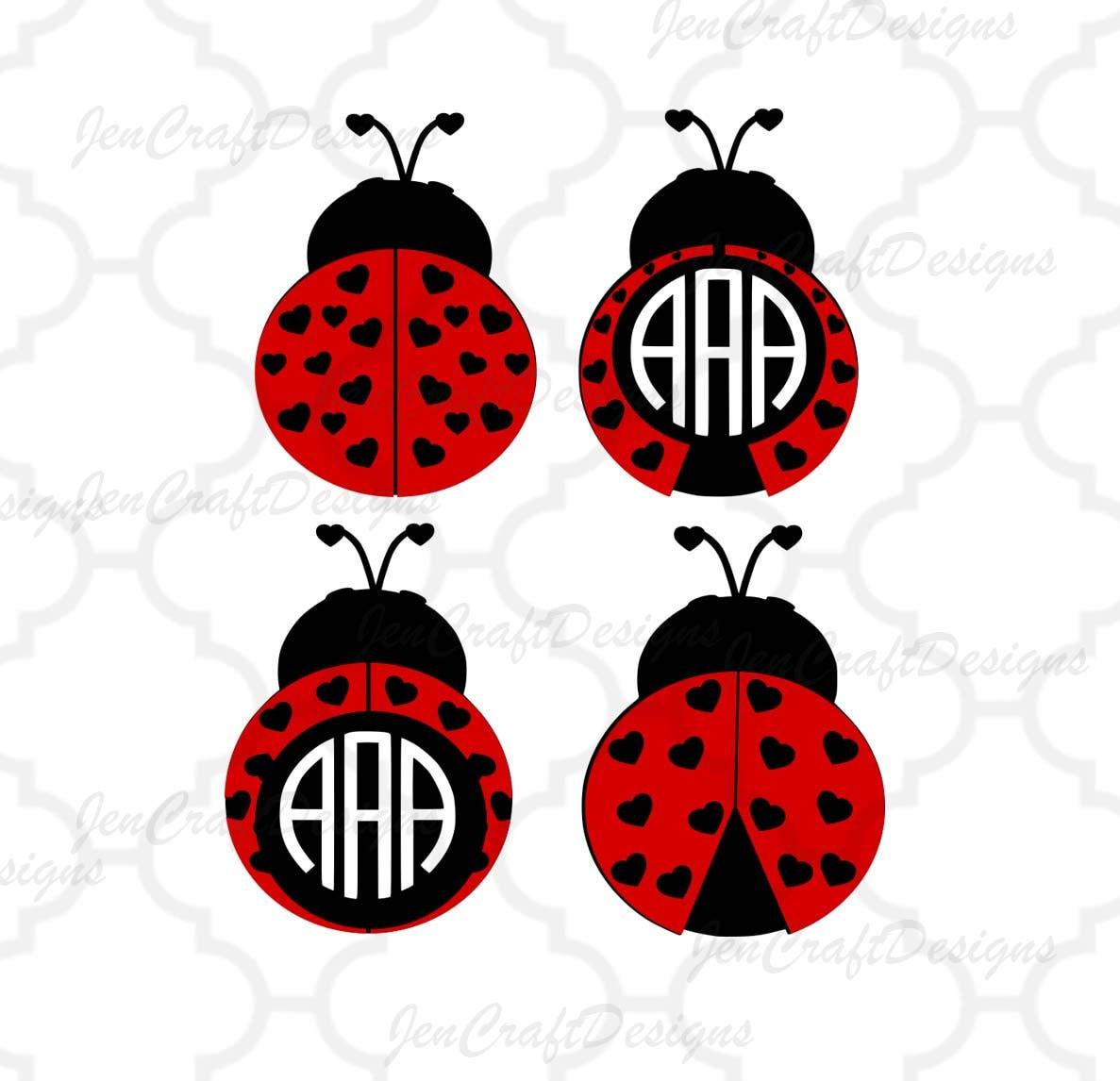 Heart Ladybug SVG monogram Frames, valentine svg, lady bug beetle ...