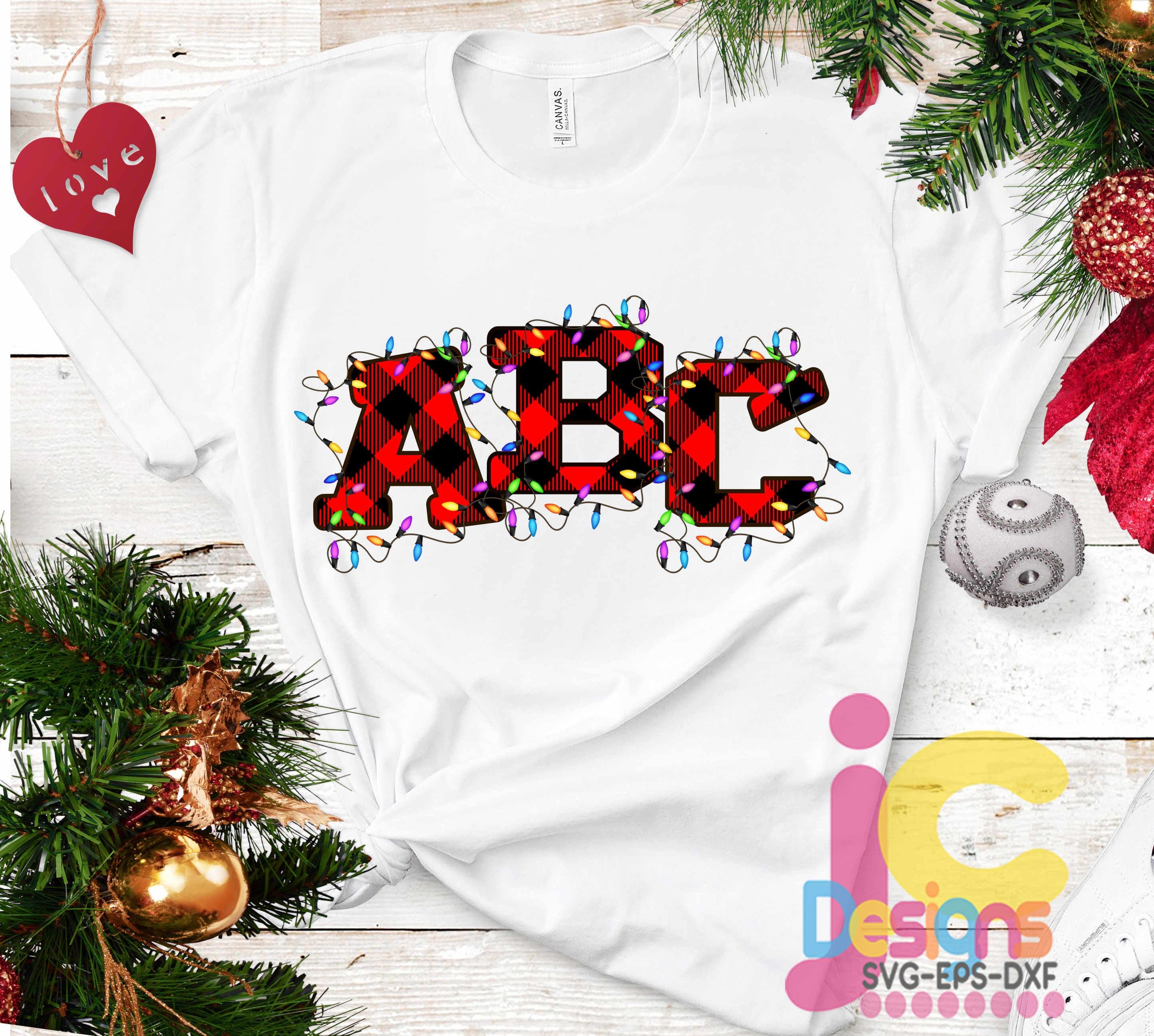 Buffalo Plaid Alphabet Christmas lights Sublimation design ...