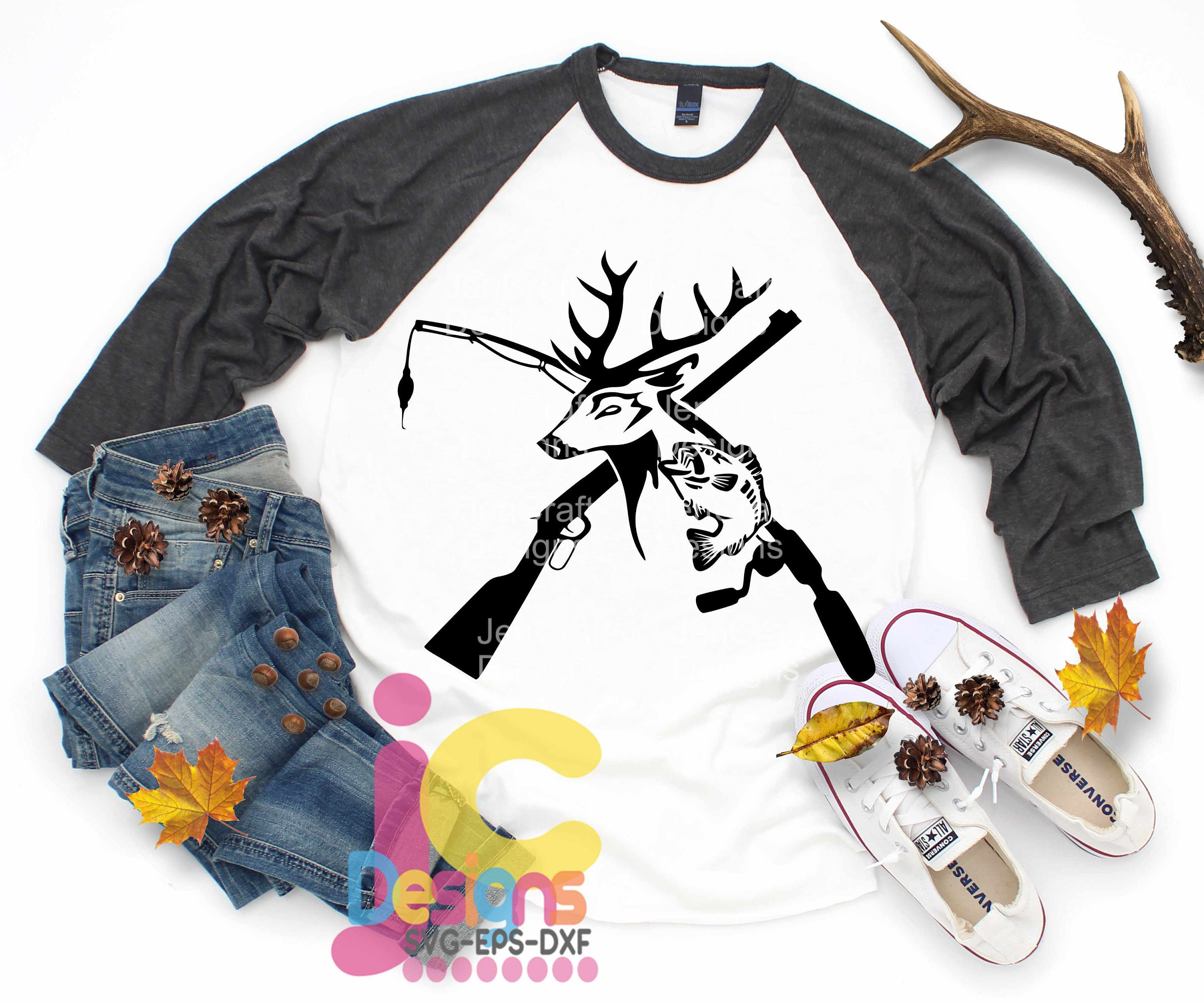 Hunting Svg Deer And Fish Riffle Fishing Pole Svg Hunting Svg Fishing Svg Eps Dxf Png Sublimation Cricut Silhouette Cut File Clipart