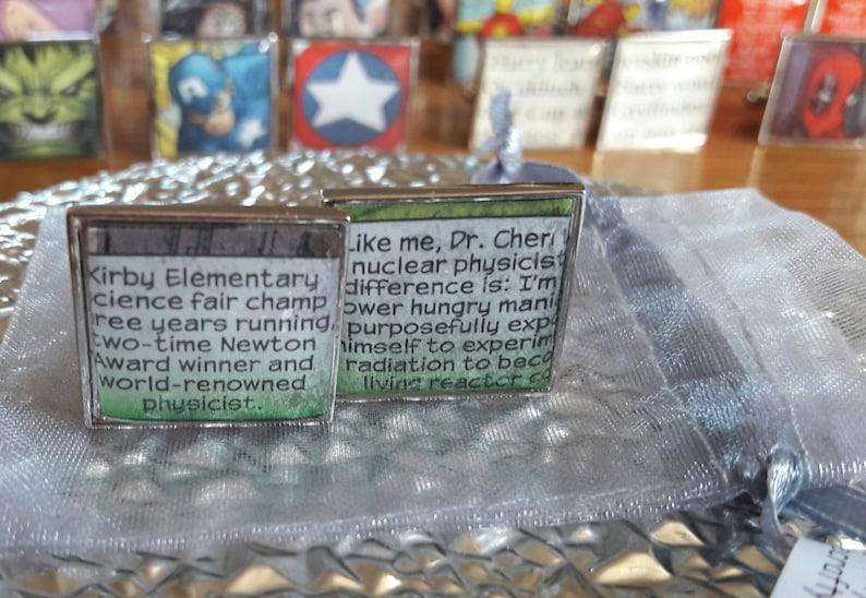 Upcycled /& Unique Comic Cufflinks Unique Recycled Comic Book /'Hulk Comic Text/' Square Comic Cufflinks