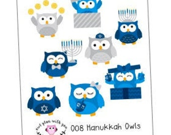 O08 || 8 Hanukkah Owl Stickers
