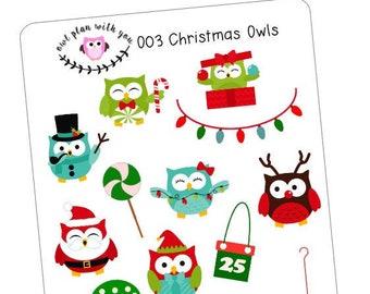 O03 || 14 Christmas Owls Stickers