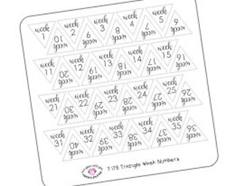 T178 || 40 Triangle Week Number Stickers