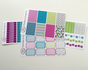 V01 || Blue and Purple Vertical Weekly Planner Kit