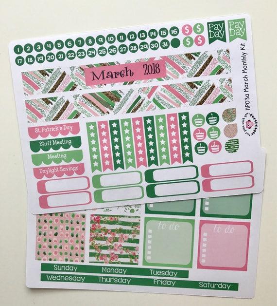 HP03 || March Glitter Happy Planner Teacher Kit