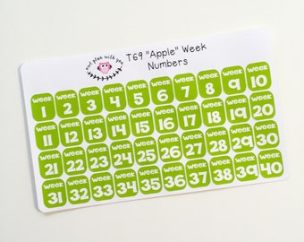 T69 || 40 Week Number Stickers