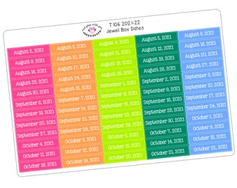 T106 || 240 Box Date Stickers for the 2021-22 School Year