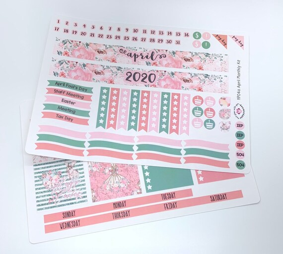HP04 || April Floral Happy Planner Teacher Kit