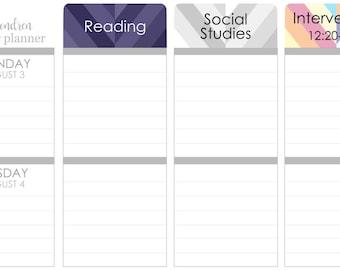 R01 || Custom Retro Weekly Teacher Planner Header Stickers