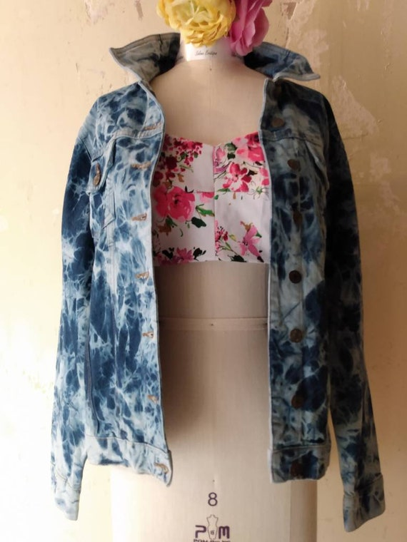 Denim  jacket Tye Dyed Denim Jacket Women's  Mediu