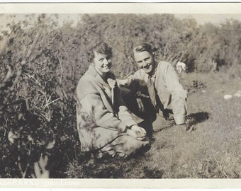 Happy Young Lovers on the Grass, 1930s (est.), Vintage Photograph