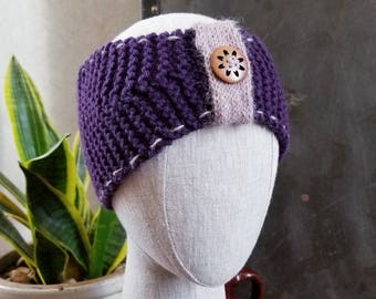 Chunky Knit Turban Headband with Button Accent in Blackberry Purple