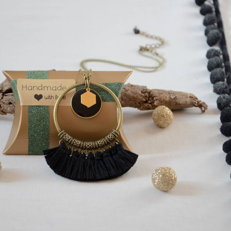 long necklace ladies necklaces black and bronze necklace jewelry trends 2017 Black necklace pompom tassels and bronze chain