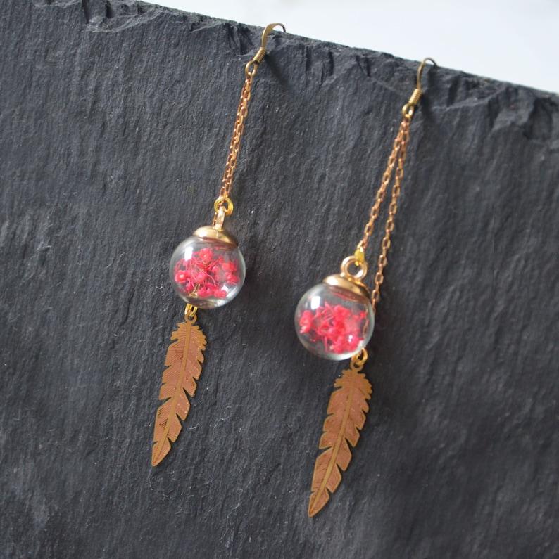 earrings flowers leaves pink earrings fine jewelry Hoop earring dried summer flowers earring end