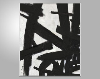 Black and White Abstract Oil Painting, Modern Art, Abstract Oil Painting, Bedroom Decor, Abstract Canvas Painting, Wall Decor