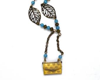 jewelry, handmade envelope, gemstones, blue agate
