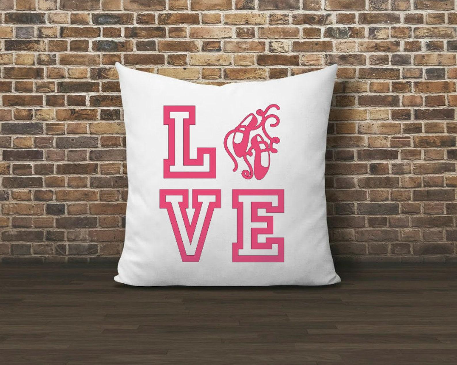 ballerina throw pillow, dancer gift, ballerina decor, love, ballerina gift, dance throw pillow, ballet shoes