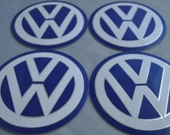 Set Of 4 60mm Original Car Wheel Center Cap Stickers Vw Etsy