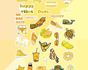 Yellow Aesthetic Stickers Etsy