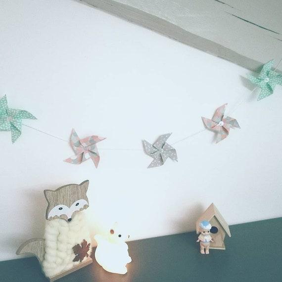 Idee Cadeau Naissance.Guirlande Moulins A Vent Tons Pastels Idee Cadeau Naissance Decoration Chambre Enfant
