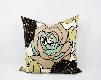 Brown, Tan, Green, and Gold Floral Handmade Decorative Pillow Cover. Velvet,  20x20, Throw Pillow, Accent pillow, Toss Pillow