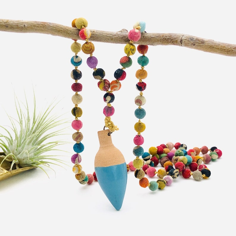 Handmade pottery with fabric covered bead fun necklace