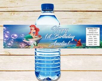 Little Mermaid water bottle label, Ariel birthday party, Little Mermaid birthday, Ariel bottle wraps, Little Mermaid labels, Ariel theme