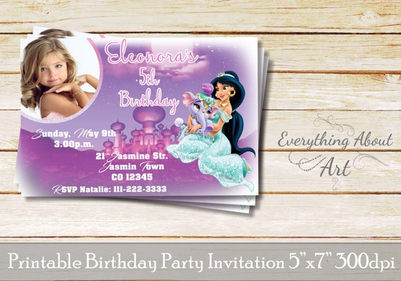 Princess Jasmine Invitation Birthday