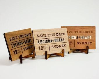 Wooden Wedding / Engagement Save the Date - Block Cutout Rectangular