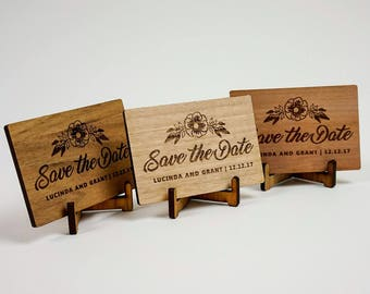 Wooden Wedding / Engagement Save the Date - Classic Rectangular