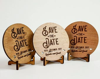 Wooden Rustic Wedding / Engagement Save the Date - Tribal