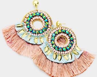 Assorted Colors - Stone Embellished Tassel Fringe Dangle Earrings